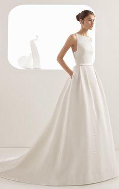 Courtesy of Rosa Clara Wedding Dresses; Rosa Clara Wedding Dresses, Country Wedding Dresses, Black Wedding Dresses, Princess Wedding Dresses, Elegant Wedding Dress, Bridal Dresses, Wedding Gowns, Boat Neck Wedding Dress, 50s Wedding