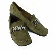 Cole Hahn Women's Loafers Shoes Slip on Size 7 1 2 B Olive Green Suede | eBay
