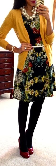 Fall Outfit With Cardigan,Floral Dress and Leggings