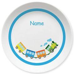 Welches Kind möchte nicht gern mal Lokführer sein? Melamin-Teller mit Namen von MEIN TELLER
