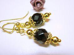 Black Earrings #Wedding Wear #Gold And Black Dangles