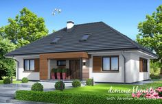 Projekt domu Zacisze IV , wizualizacja 1 Village House Design, Village Houses, Home Exterior Makeover, House Wiring, Facade House, Home Fashion, Cozy House, My Dream Home, Beautiful Homes