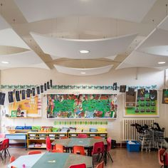 Twydall Infant and Junior School, Kent uses a range of Armstrong Ceilings including Concave and Convex Ultima Canopies World Industries, Canopy, Photo And Video, Gallery, Projects, Concave, Ceilings, Acoustic, Furniture