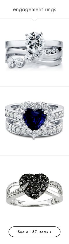 """""""engagement rings"""" by amyila ❤ liked on Polyvore featuring jewelry, rings, accessories, 2 piece ring set, clear, sterling silver, women's accessories, stackable rings, solitaire engagement ring and cubic zirconia rings"""