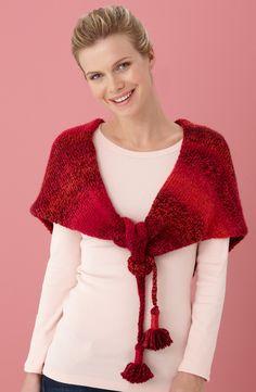Tasseled Shawl in Lion Brand Tweed Stripes - L10511