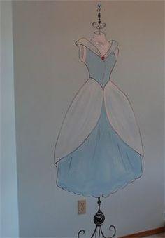 princess dress on stand, mural for girl room
