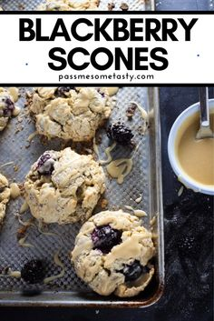 A soft, slightly buttery gluten-free scone with a warm biscuity texture, loaded with sweet blackberries and drizzled with a maple vanilla glaze. Only 35 minutes from start to finish for these dreamy scones! A tasty pastry for breakfast or brunch that everyone will love! Gluten Free Scones, Gluten Free Baking, Best Gluten Free Recipes, Gluten Free Desserts, Brunch Recipes, Dessert Recipes, Fall Recipes, Snack Recipes, Healthy Recipes
