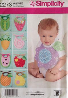 Uncut Simplicity Pattern 2273 - Infant/Baby Bibs on Etsy, $3.00