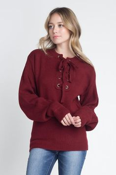 22ce1af4f7 This trendy sweater features a criss cross lace up detail on the neckline  Model is wearing a size Small Medium Cotton Acrylic Hand Wash Cold Imported  Style