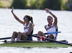US Rowers Sarah Zelenka & Sara Hendershot after women's rowing pair heat in Eton Dorney, near Windsor