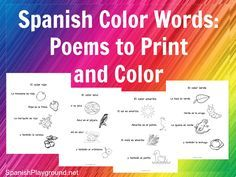 Spanish color words used in short rhymes. Four poems about colors with common vocabulary for kids learning Spanish. Printable versions to color.