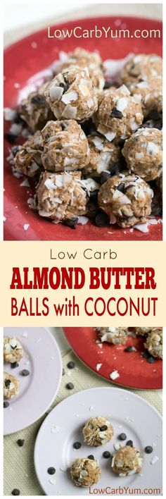A no bake almond butter balls recipe that's quick and easy to make. These little protein bites are a perfect snack to boost energy during the day. | http://LowCarbYum.com