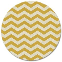 West Elm SPO Zig Zag Wool Dhurrie, 6' Round, Horizon - Yellow, West... (2,270 CNY) ❤ liked on Polyvore featuring home, rugs, hand woven wool rugs, yellow rug, west elm rugs, hand made wool rugs and chevron area rug