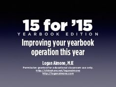 15 for '15 Improving Your Yearbook in 2015