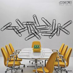 Wall decals PAPER CLIPS Vinyl surface graphics interior decor by Decals Murals. $29.00, via Etsy.