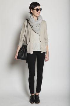 Totokaelo Cardigan + scarf + top + black jeans + shoes + shades
