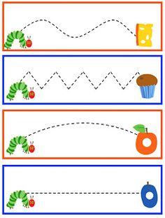 Preschool Printables: Hungry Caterpillar to Beautiful Butterfly Printable-fine motor Preschool Writing, Preschool Printables, Preschool Classroom, Preschool Worksheets, Preschool Learning, Preschool Activities, Free Printables, Preschool Bug Theme, Free Preschool