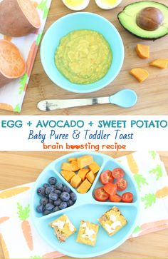 Another brain boosting recipe for your baby AND toddler. Egg yolk, avocado and sweet potato puree. +6 Months. Breakfast or lunch idea. via @buonapappa