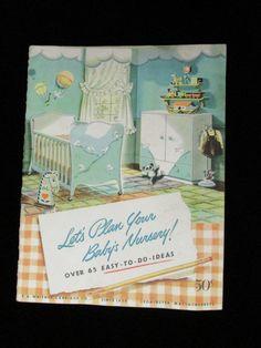 "Rare Vintage Book Baby Nursery Decor - ""Let's Plan Your Baby's Nursery!"""