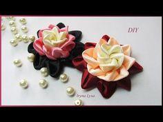 DIY: Satin ribbon flower, authors kanzashi petal, Tutorial, мастер-класс, цветок канзаши - YouTube