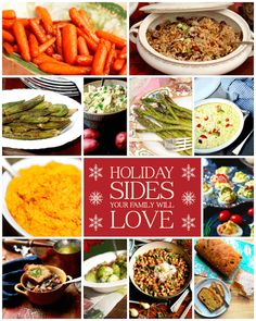 Holiday Sides list, recipes by Stacy Lyn Harris Thanksgiving Recipes, Holiday Recipes, Holiday Foods, Easter Recipes, Family Holiday, Christmas Recipes, Holiday Side Dishes, Dinner Sides, Vegetable Sides