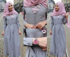 grey dress for hijabis Hijab Outfit, Hijab Gown, Girl Hijab, Abaya Fashion, Modest Fashion, Fashion Outfits, Fashion Muslimah, Muslim Women Fashion, Islamic Fashion