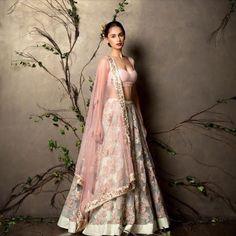 Bridal Lehenga - Gorgeous pastel lehenga by Shyamlal & Bhumika Mode Bollywood, Bollywood Fashion, Indian Attire, Indian Ethnic Wear, Indian Wedding Outfits, Indian Outfits, Desi Clothes, Indian Clothes, Indian Couture