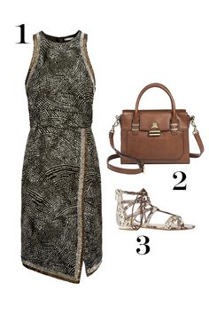 1. H&M Beaded Dress, $99; hm.com 2. Target Women's Satchel Handband With Gold Toggle, $49.99; target.com 3. ALDO Wares Brown Gladiator Flat Sandals, $65; asos.com
