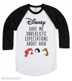 Disney Gave Me Unrealistic Hair Expectations | Disney gave me unrealistic expectations about hair. This cute baseball tee is sure to bring smiles wherever you go, and goes perfect with a messy hair day! #Skreened