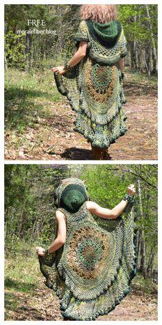 Crochet Circle Vest, Crochet Vest Pattern, Crochet Circles, Crochet Shawl, Free Crochet, Knitting Patterns, Free Mandala Crochet Patterns, Free Pattern, Crochet Hooded Scarf