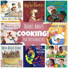Books about getting in the kitchen for Preschoolers. Most include a recipe in back! http://www.mymundaneandmiraculouslife.com/2014/04/cooking-unit-for-preschool.html