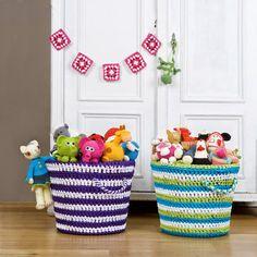 El blog de Dmc: Patrón para hacer unas cestas de ganchillo XL con Hoooked Zpagetti