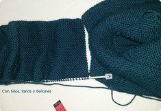 Con hilos, lanas y botones: DIY jersey con capucha para bebé paso a paso (patrón gratis) Baby Kimono, Baby Vest, Baby Knitting Patterns, Knitted Hats, Winter Hats, Pullover, Crochet, Sweaters, Labor