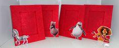 Porta Retrato Vermelho - Festa de aniversário tema Madagascar - Lindo Centro de Mesa e Presente para convidados.