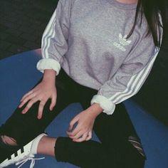 grey adidas sweatshirt black ripped jeans ripped jeans grey sweater adidas…