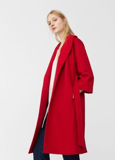 Belt wool red coat | MANGO