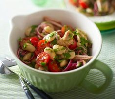 Low-calorie recipes - enjoyment in the easy way - Entspannt abnehmen - # Snack Mix Recipes, Bean Salad Recipes, Chef Recipes, Great Recipes, Low Calorie Recipes, Healthy Recipes, Clean Eating, Healthy Eating, Baked Eggplant