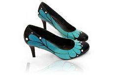 Blue Monarch Butterfly Heels