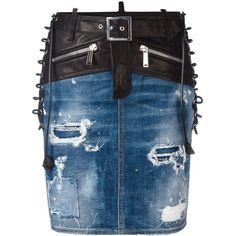 Dsquared2 bondage denim skirt ($790) ❤ liked on Polyvore featuring skirts, mini skirts, bottoms, blue, distressed skirt, ripped skirt, lace up skirt, short blue skirt and lace up denim skirt