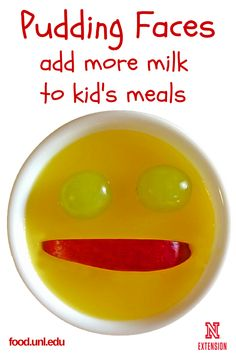 Make this no cook recipe for Pudding Faces to add more milk to desserts or snacks for kids.