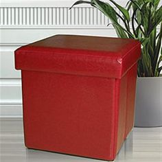 """Ksp Sit Collapsible Leatherette Storage Ottoman 38 Cm Sq. Red 