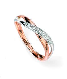 9ct White and Rose Elements Gold Diamond twist Ring