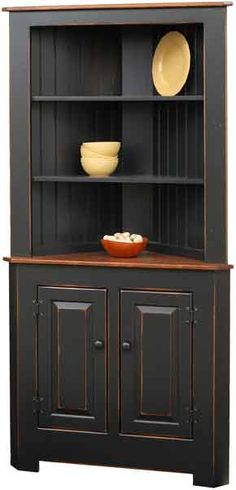 extra large corner cupboard painted in primitive heritage black - Dining Room Corner Hutch