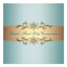 Girls Teal Blue First Communion Personalized Announcements
