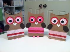 owl treat bags for granddaughters valentine party - Valentine Bags For School