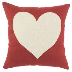 Pillow in red and soft cream with a heart design. Made in the USA.       Product: Pillow    Construction Material: 10...