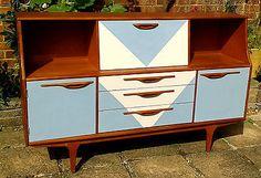 Retro painted teak sideboard / bureau / dresser / cabinet Funky Furniture, Painted Furniture, Furniture Ideas, Retro Bedrooms, Teak Sideboard, Color Shapes, Shop Ideas, Diy Ideas, Mid-century Modern