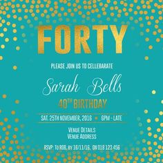 40th Birthday Party Digital Printable Invitation Template