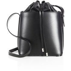 3.1 Phillip Lim Hana Leather Drawstring Bucket Bag ($370) ❤ liked on Polyvore featuring bags, handbags, shoulder bags, apparel & accessories, black, shoulder handbags, man bag, leather shoulder handbags, leather man bags and leather hand bags #blackshoulderhandbags