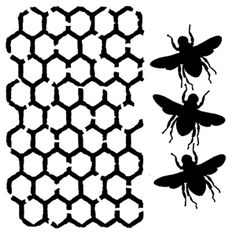 *Art Stencil Template - 3 Bees and Honeycomb - 6